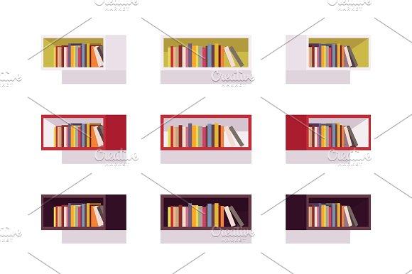 Set Of Retro Rectangle Bookshelves