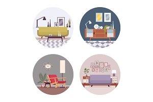 Set of retro interiors in a circle