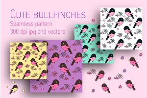 Bullfinches seamless vector patterns