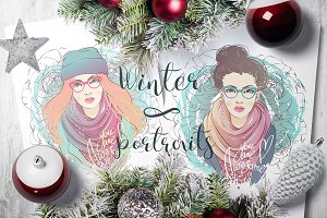 Two vector winter portraits.