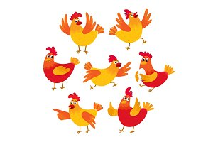 Funny cartoon red and orange chicken, hen in various poses