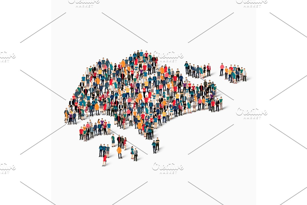 people map country Singapore vector ~ Illustrations ~ Creative Market