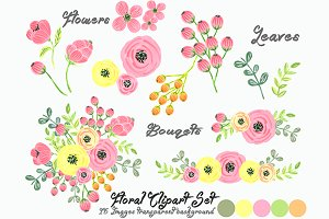 Watercolor Floral Set Clipart