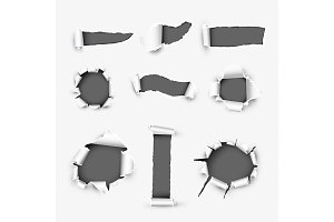 Realistic Holes in White Paper Background
