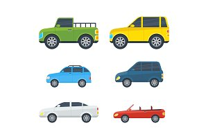 Passenger Cars Cartoon Vector Models Collection