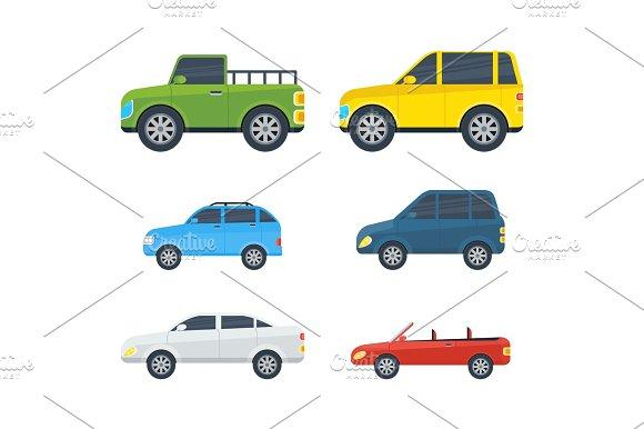 Passenger Cars Cartoon Vector Models Collection