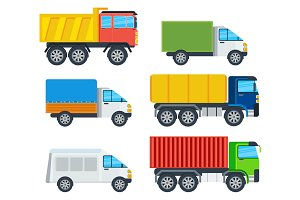 Trucks Cartoon Vector Models Collection