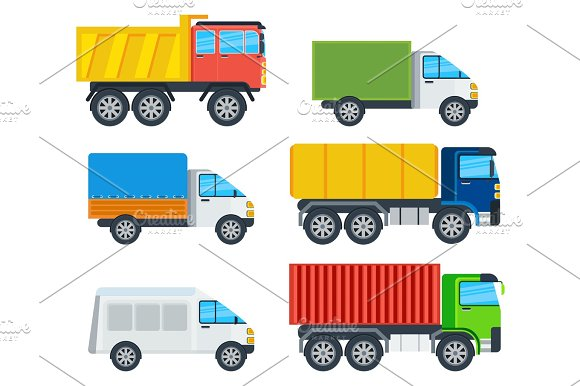 Trucks Cartoon Vector Models Collection in Illustrations