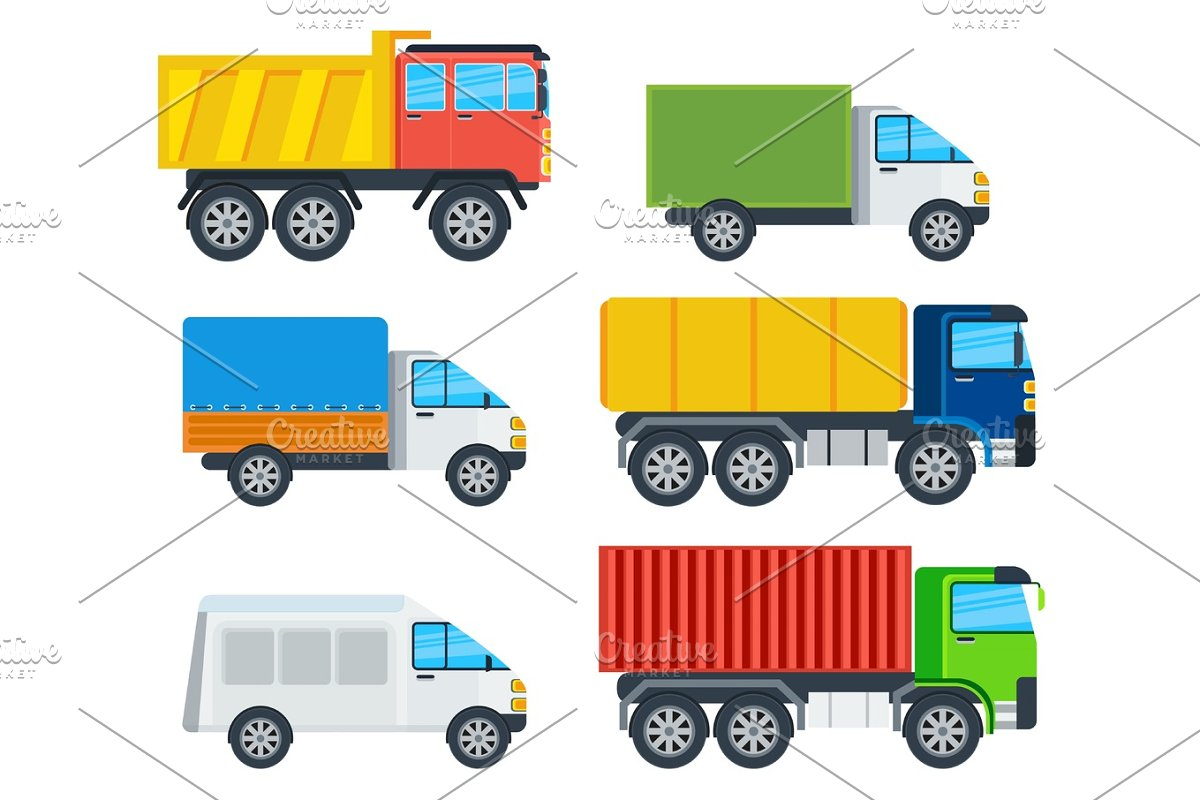 Trucks Cartoon Vector Models Collection in Illustrations - product preview 8