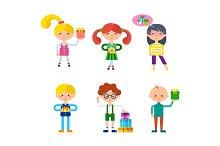 Children Cartoon Characters Vector Set