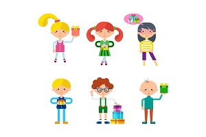 Children Cartoon Characters Vector Set
