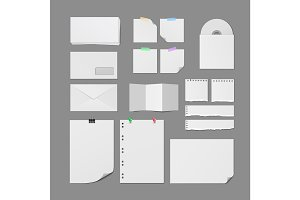 Office Paper Supplies Vector Blank Templates Set