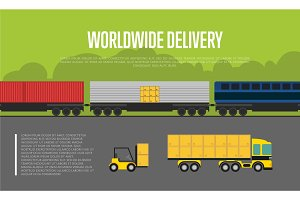 Worldwide delivery banner with cargo train