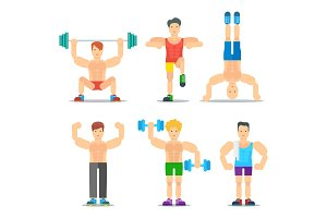 Men Fitness Cartoon Vector Icons Collection