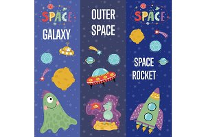 Space Theme Cartoon Web Banners Collection