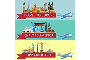 Worldwide travel set with famous attractions