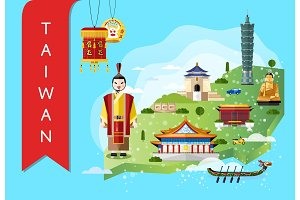 Taiwan travel concept with famous attractions