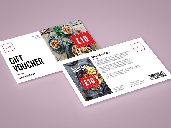 restaurant gift voucher card templates creative market