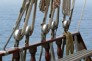 Detail of ropes and schooner riggins
