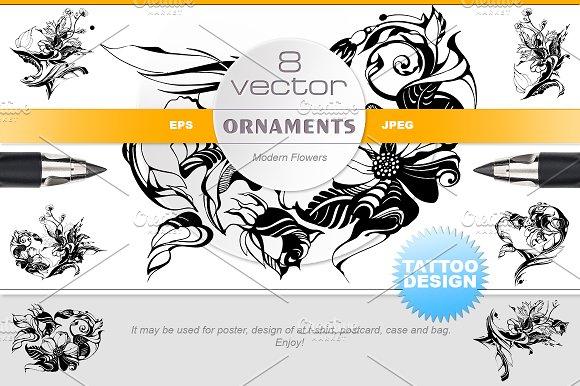 Vector flowers, tattoo design