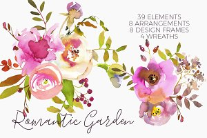 Romantic Pink Watercolor Flowers