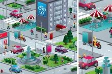 City isometric (buildings, people)