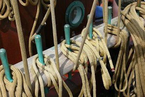 Ropes and a schooner riggings