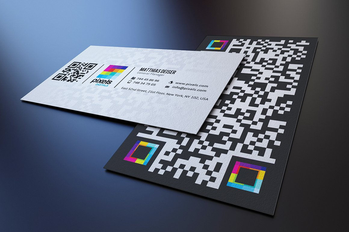 Qr code business card business card templates creative market colourmoves