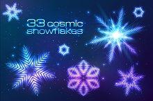 33 cosmic shining vector snowflakes