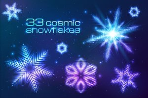 33 cosmic shining vector snowflakes