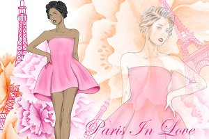 Paris girls clipart
