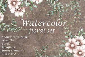 Vintage floral collection. Flowers