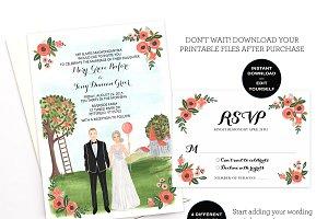 Editable Couple Illustrated Invite