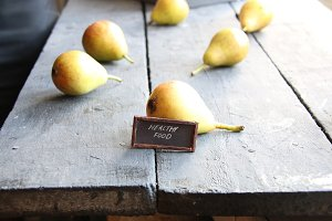 healthy food tag and Juicy flavorful pears