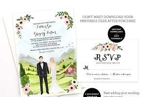 Editable Couple Illustrated Invite
