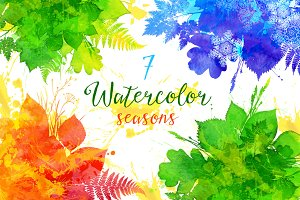 7 watercolor vector seasons banners