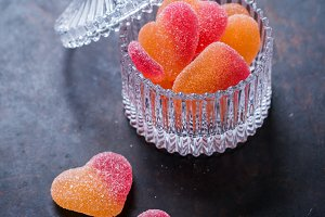 Heart shaped candies for valentines day