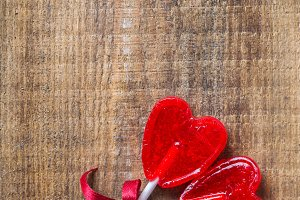 Heart shaped candy lollipop for valentines day