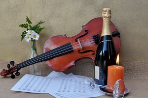 Champagne, flowers, violin
