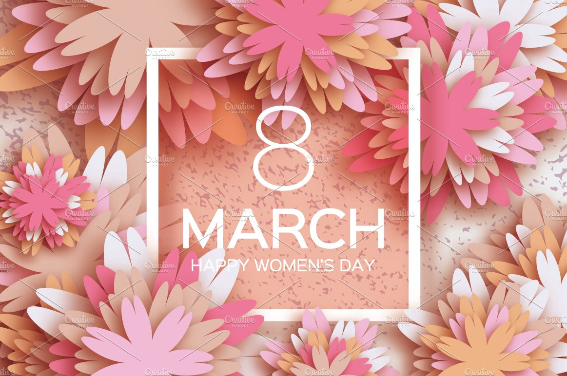 8 March Pink Pastel Paper Flower Illustrations Creative Market