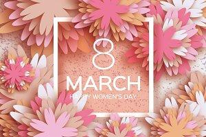8 March. Pink Pastel Paper Flower