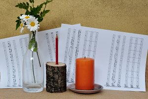 romantic scene with sheet music