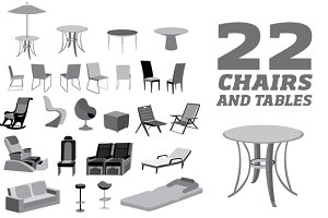 furniture chairs, tables and objects