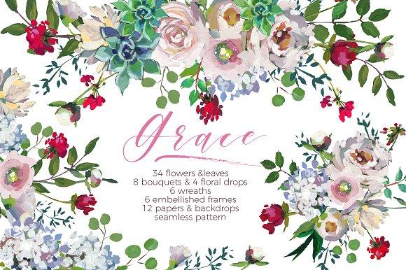 Grace Wedding Floral Design Set ~ Illustrations ~ Creative Market