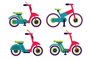 Motorcycle scooter and bycicle set