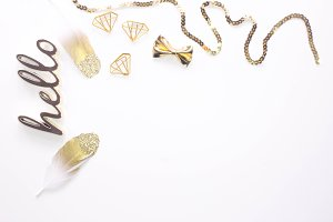 Gold Feather Styled Stock Photo