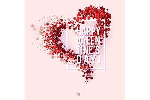 Valentines Day card with red small hearts