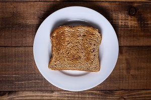 Toast on white plate