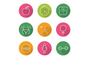 Sport and dieting. 9 icons. Vector