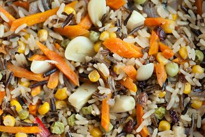 Rice with vegetables, vegetarian dish.